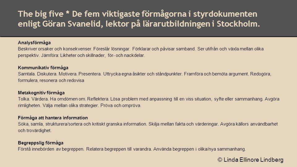 The big five * De fem viktigaste förmågorna i styrdokumenten enligt Göran Svanelid, lektor på lärarutbildningen i Stockholm. Analysförmåga Beskriver o