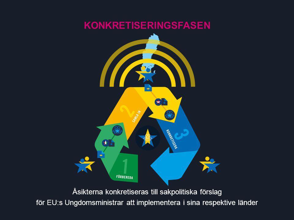 Åsikterna konkretiseras till sakpolitiska förslag för EU:s Ungdomsministrar att implementera i sina respektive länder KONKRETISERINGSFASEN