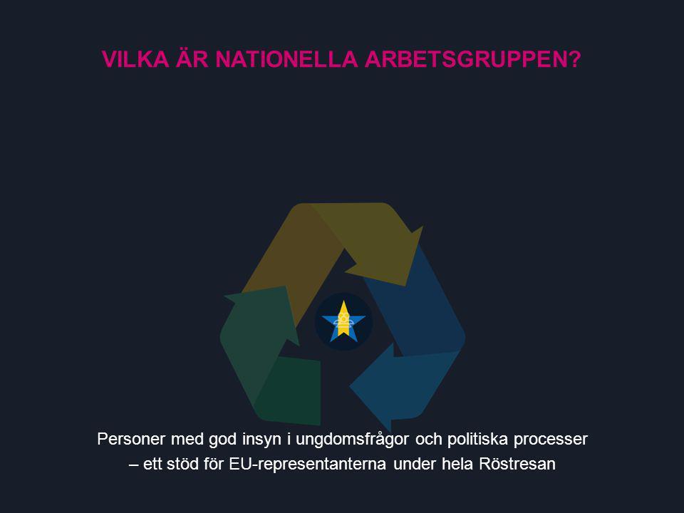Länken mellan svenska ungdomar och EU – samlar in och representerar Sverige i förhandlingarna med de övriga länderna VILKA ÄR EU-REPRESENTANTERNA?