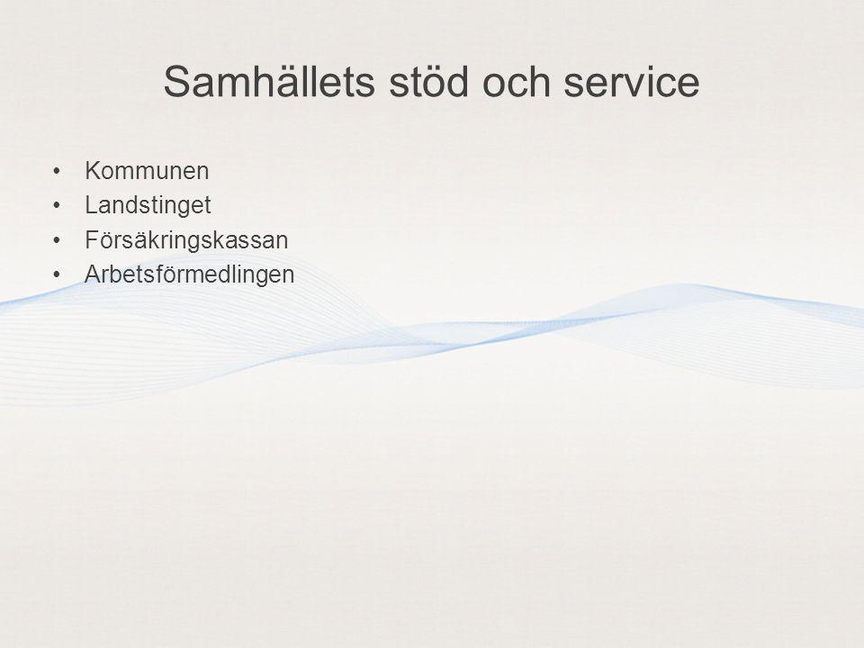 Samhällets stöd och service Kommunen Landstinget Försäkringskassan Arbetsförmedlingen