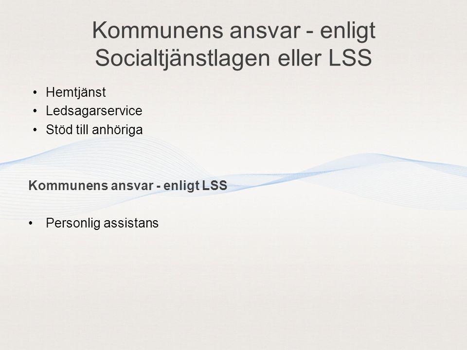 Kommunens ansvar - enligt Socialtjänstlagen eller LSS Hemtjänst Ledsagarservice Stöd till anhöriga Kommunens ansvar - enligt LSS Personlig assistans