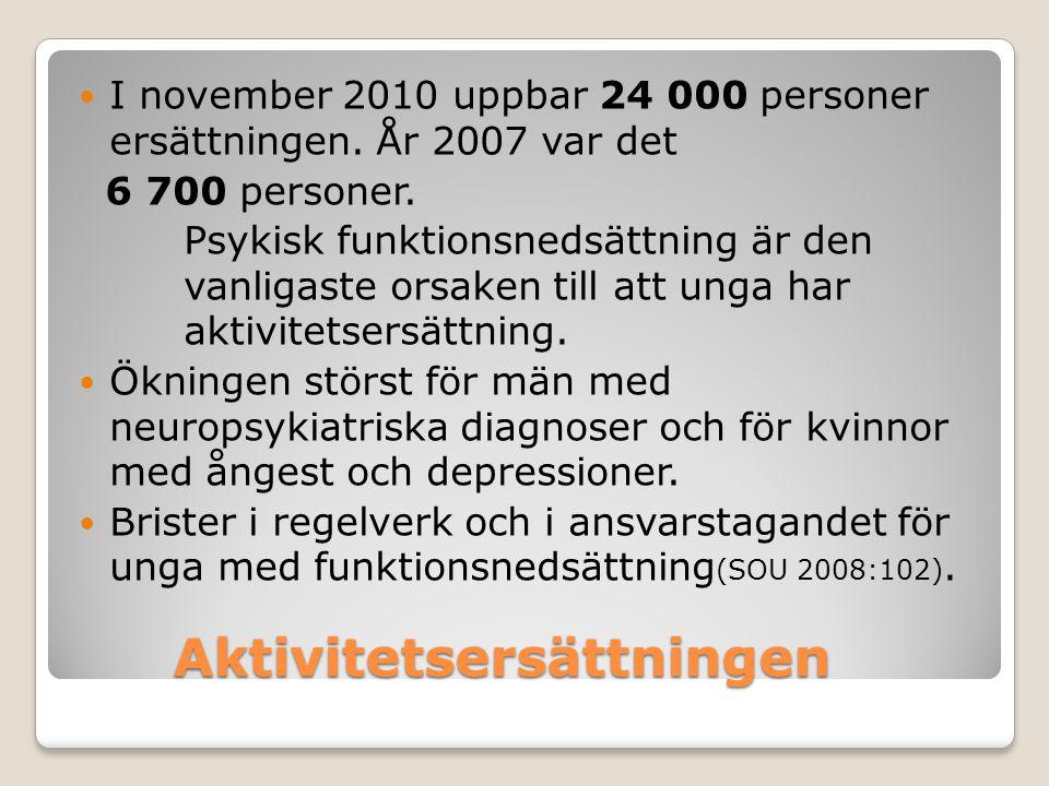 Aktivitetsersättningen I november 2010 uppbar 24 000 personer ersättningen. År 2007 var det 6 700 personer. Psykisk funktionsnedsättning är den vanlig