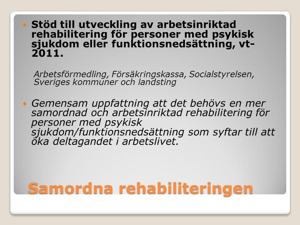 Samordna rehabiliteringen Stöd till utveckling av arbetsinriktad rehabilitering för personer med psykisk sjukdom eller funktionsnedsättning, vt- 2011.
