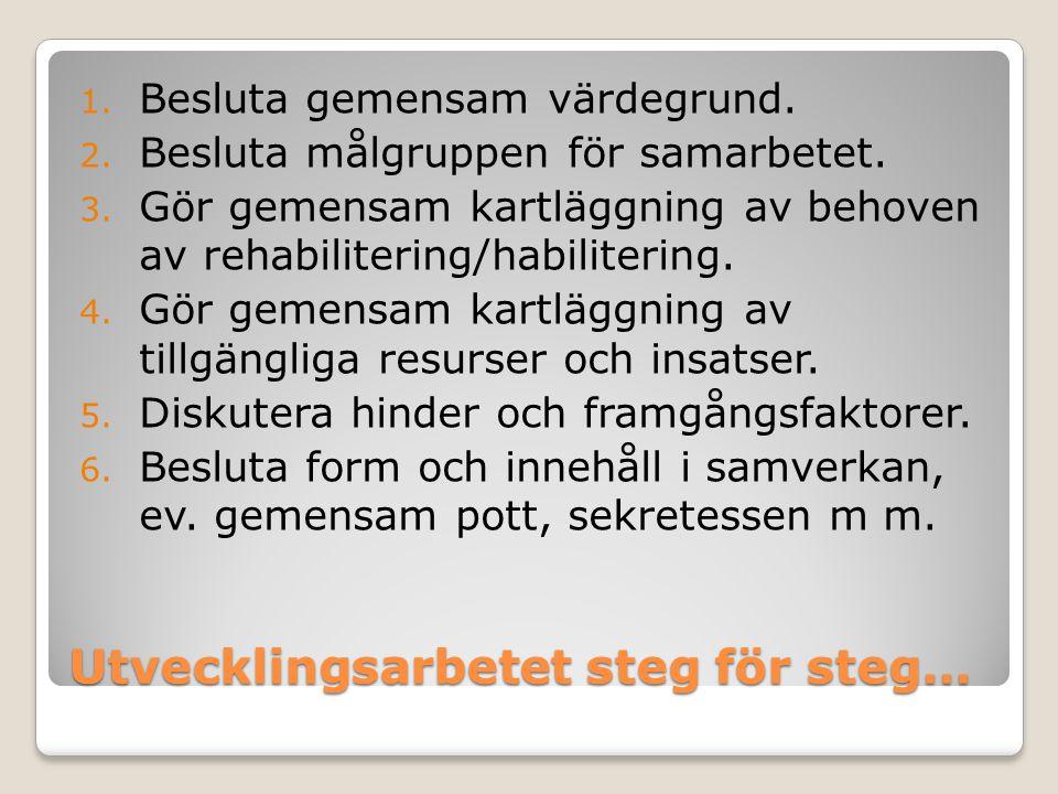 Utvecklingsarbetet steg för steg… 1. Besluta gemensam värdegrund. 2. Besluta målgruppen för samarbetet. 3. Gör gemensam kartläggning av behoven av reh