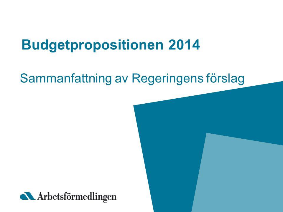 Budgetpropositionen 2014 Sammanfattning av Regeringens förslag