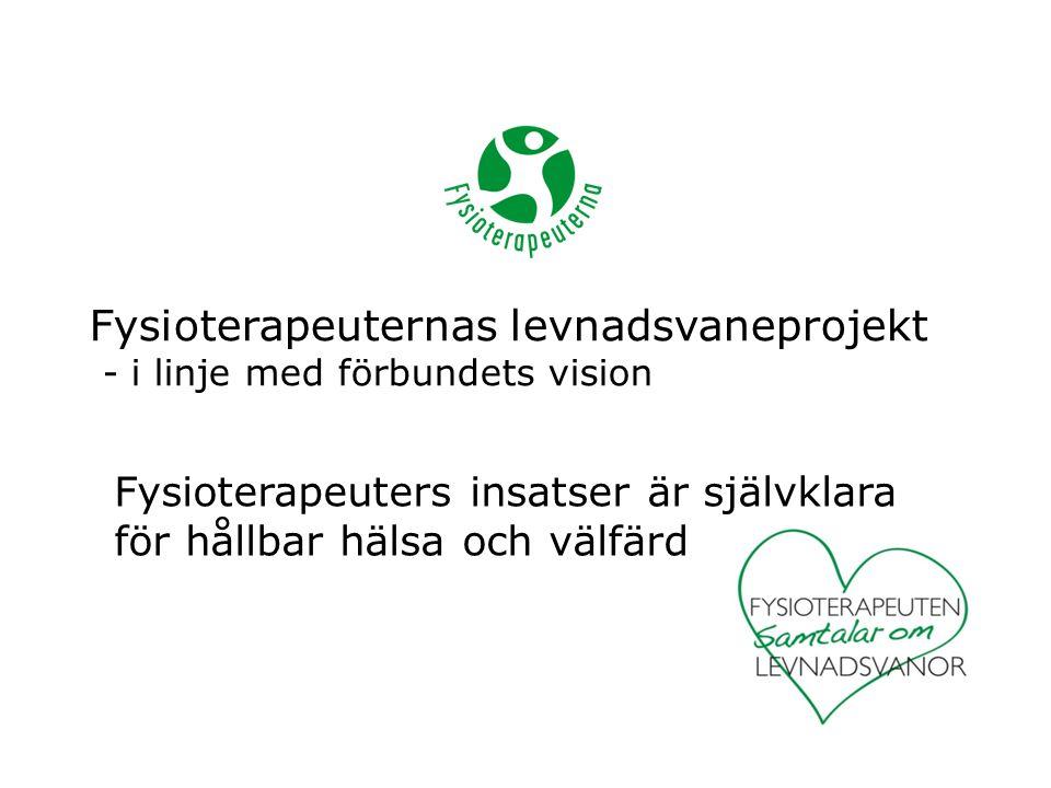 Fysioterapeuternas levnadsvaneprojekt - i linje med förbundets vision Fysioterapeuters insatser är självklara för hållbar hälsa och välfärd