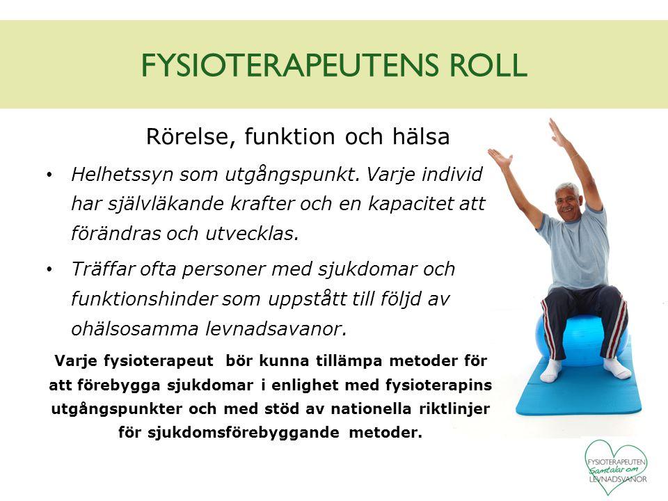 FYSIOTERAPEUTENS ROLL Rörelse, funktion och hälsa Helhetssyn som utgångspunkt. Varje individ har självläkande krafter och en kapacitet att förändras o