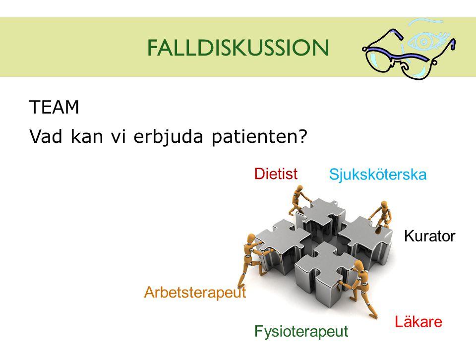 FALLDISKUSSION TEAM Vad kan vi erbjuda patienten? Sjuksköterska Läkare Dietist Kurator Fysioterapeut Arbetsterapeut