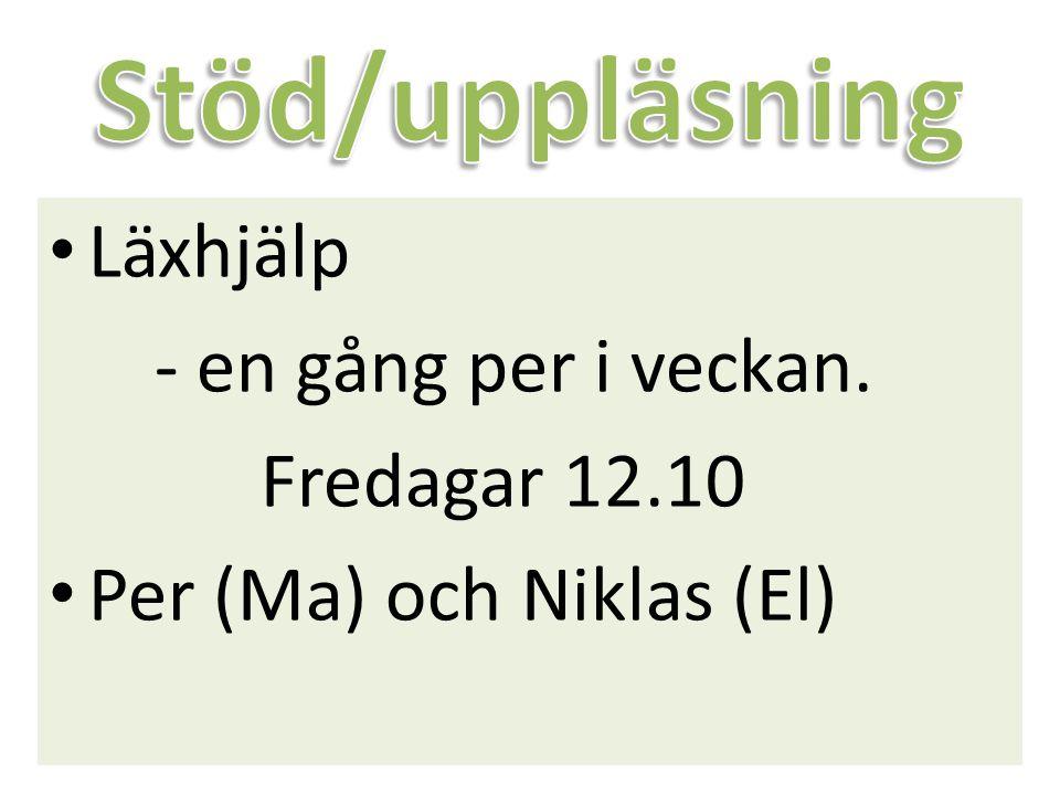 Läxhjälp - en gång per i veckan. Fredagar 12.10 Per (Ma) och Niklas (El)