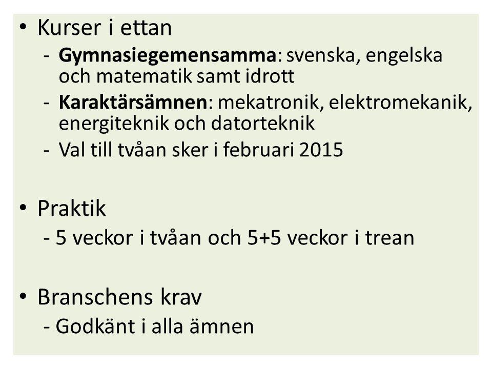 Kurser i ettan -Gymnasiegemensamma: svenska, engelska och matematik samt idrott -Karaktärsämnen: mekatronik, elektromekanik, energiteknik och datortek