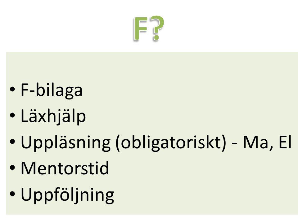 F-bilaga Läxhjälp Uppläsning (obligatoriskt) - Ma, El Mentorstid Uppföljning