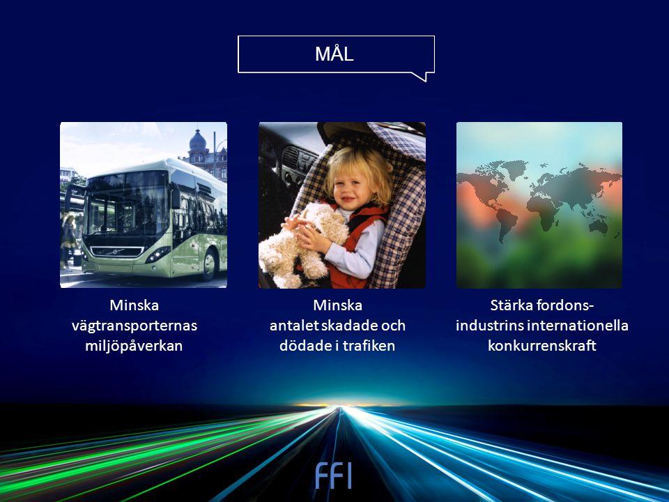 MÅL Minska vägtransporternas miljöpåverkan Minska antalet skadade och dödade i trafiken Stärka fordons- industrins internationella konkurrenskraft