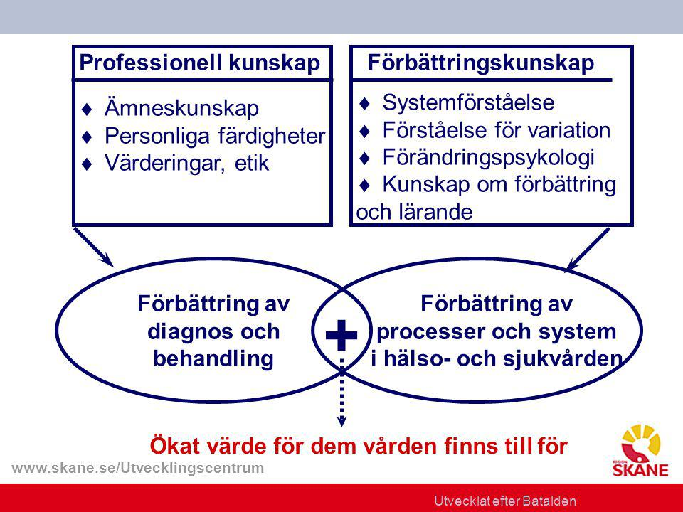 www.skane.se/Utvecklingscentrum Professionell kunskap  Ämneskunskap  Personliga färdigheter  Värderingar, etik Förbättringskunskap Förbättring av diagnos och behandling Förbättring av processer och system i hälso- och sjukvården + Ökat värde för dem vården finns till för Utvecklat efter Batalden  Systemförståelse  Förståelse för variation  Förändringspsykologi  Kunskap om förbättring och lärande
