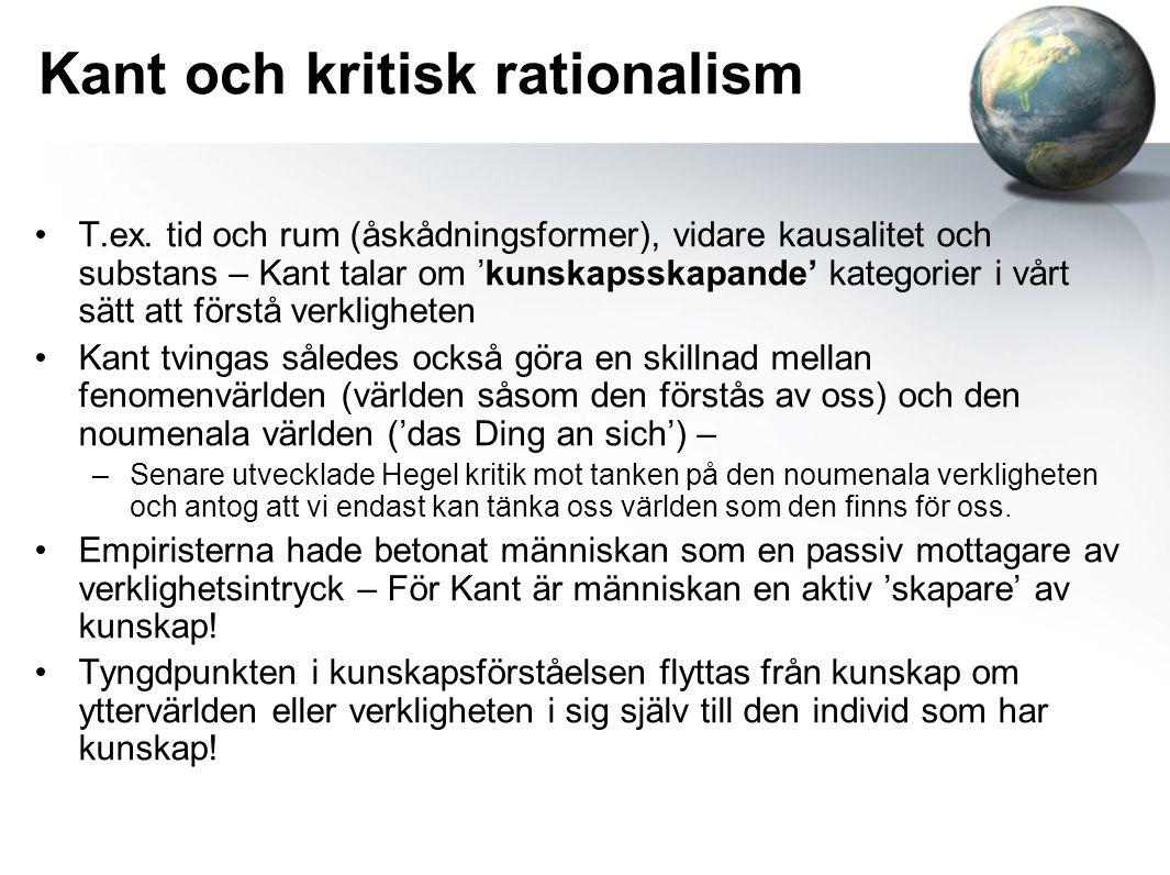 Kant och kritisk rationalism T.ex.