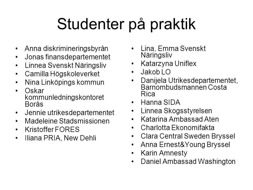 Studenter på praktik Anna diskrimineringsbyrån Jonas finansdepartementet Linnea Svenskt Näringsliv Camilla Högskoleverket Nina Linköpings kommun Oskar