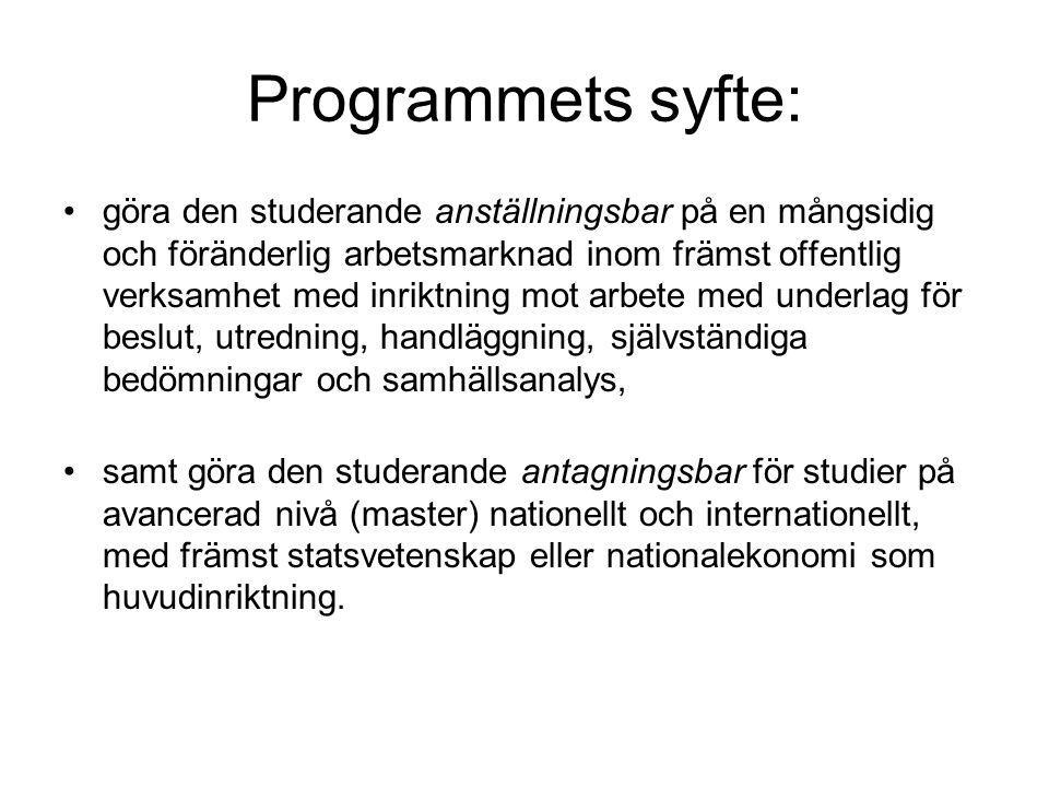 Programmets syfte: göra den studerande anställningsbar på en mångsidig och föränderlig arbetsmarknad inom främst offentlig verksamhet med inriktning m
