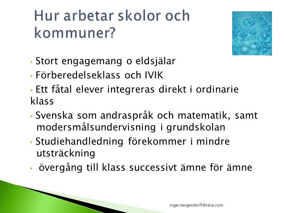 Stort engagemang o eldsjälar Förberedelseklass och IVIK Ett fåtal elever integreras direkt i ordinarie klass Svenska som andraspråk och matematik, sam