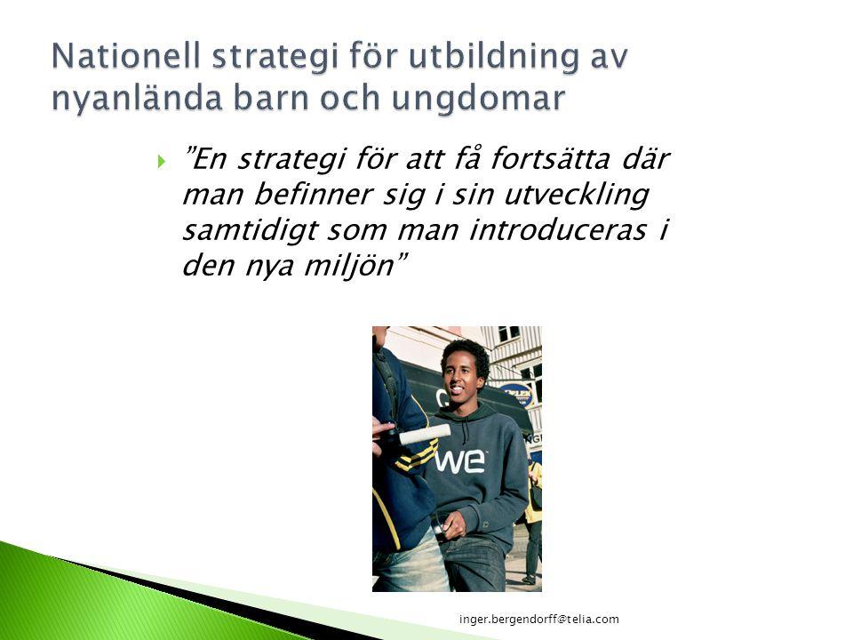 """ """"En strategi för att få fortsätta där man befinner sig i sin utveckling samtidigt som man introduceras i den nya miljön"""" inger.bergendorff@telia.com"""