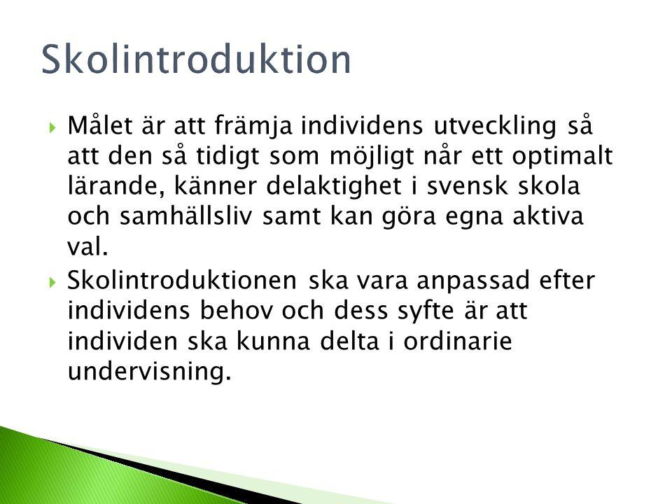  Målet är att främja individens utveckling så att den så tidigt som möjligt når ett optimalt lärande, känner delaktighet i svensk skola och samhällsl