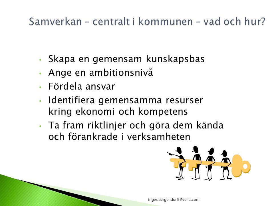 Skapa en gemensam kunskapsbas Ange en ambitionsnivå Fördela ansvar Identifiera gemensamma resurser kring ekonomi och kompetens Ta fram riktlinjer och
