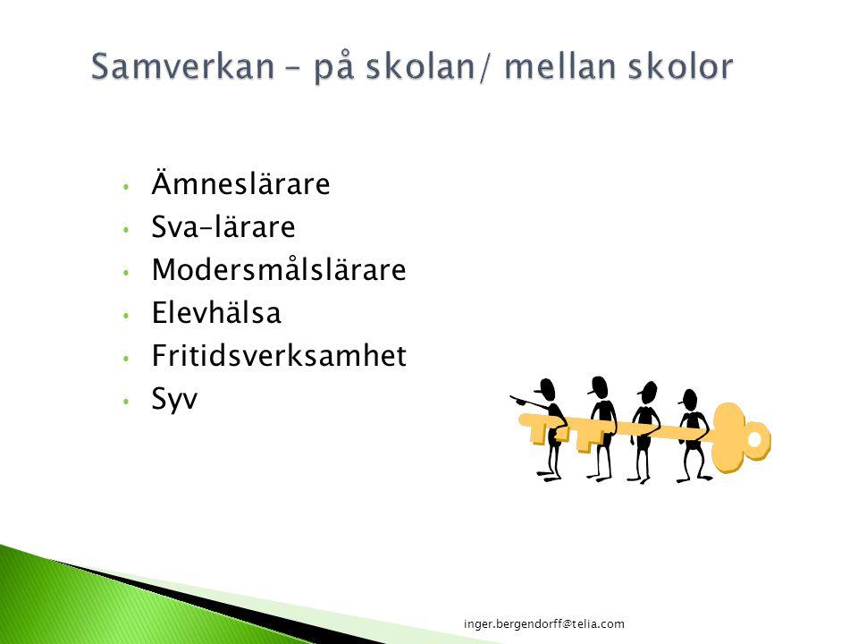Ämneslärare Sva–lärare Modersmålslärare Elevhälsa Fritidsverksamhet Syv inger.bergendorff@telia.com