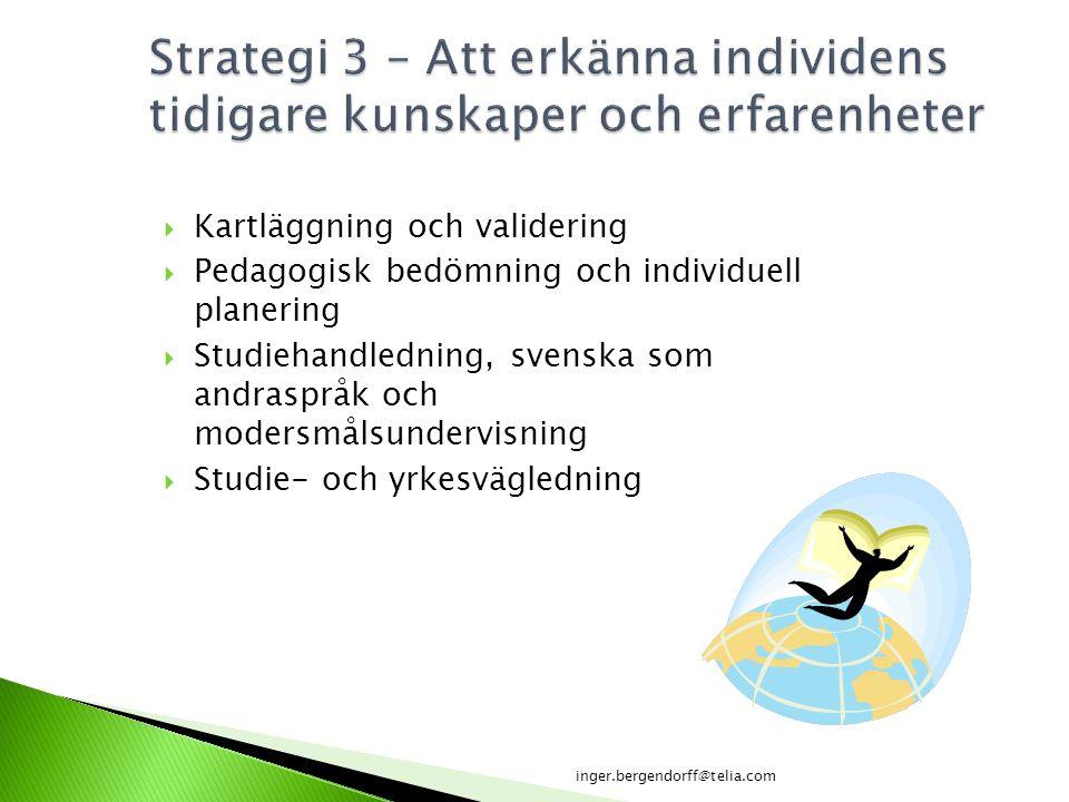  Kartläggning och validering  Pedagogisk bedömning och individuell planering  Studiehandledning, svenska som andraspråk och modersmålsundervisning