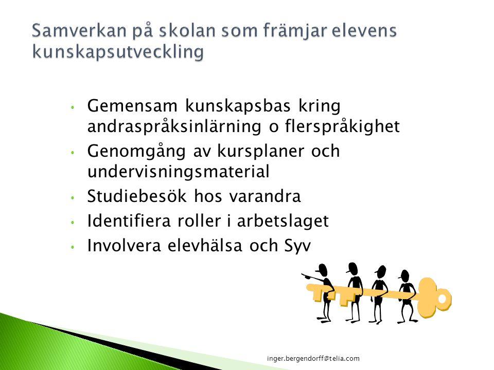 Gemensam kunskapsbas kring andraspråksinlärning o flerspråkighet Genomgång av kursplaner och undervisningsmaterial Studiebesök hos varandra Identifier