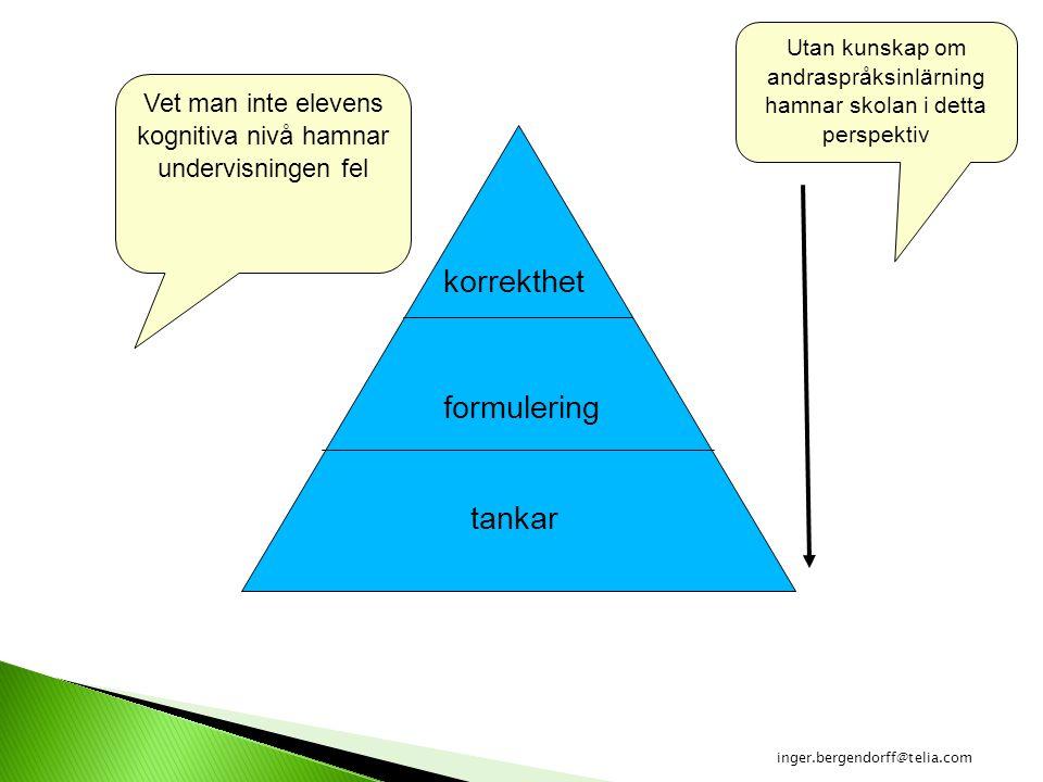 tankar formulering korrekthet Vet man inte elevens kognitiva nivå hamnar undervisningen fel Utan kunskap om andraspråksinlärning hamnar skolan i detta