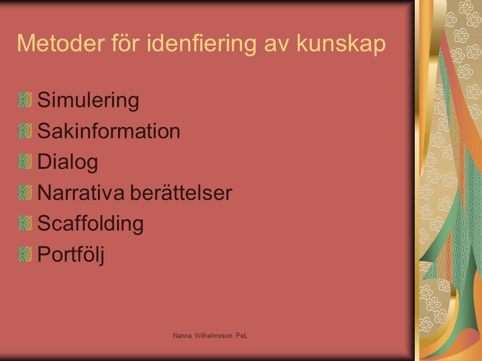 Metoder för idenfiering av kunskap Simulering Sakinformation Dialog Narrativa berättelser Scaffolding Portfölj Nanna Wilhelmsson, PeL