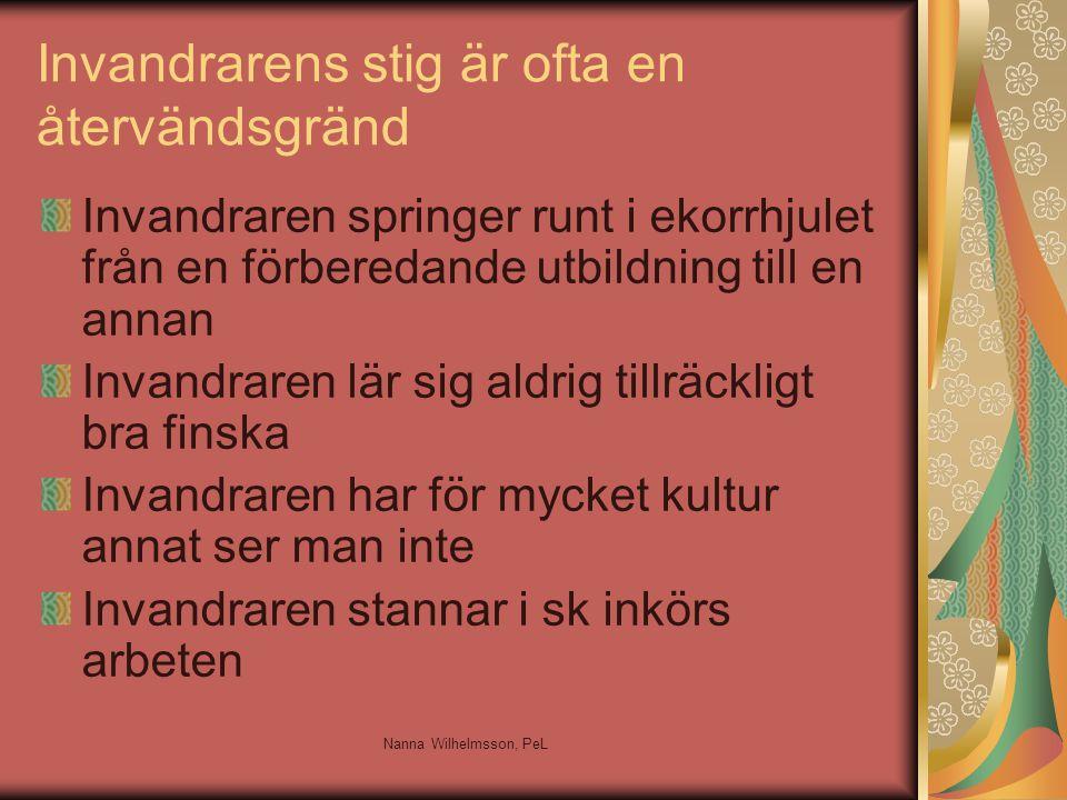 Invandrarens stig är ofta en återvändsgränd Invandraren springer runt i ekorrhjulet från en förberedande utbildning till en annan Invandraren lär sig aldrig tillräckligt bra finska Invandraren har för mycket kultur annat ser man inte Invandraren stannar i sk inkörs arbeten Nanna Wilhelmsson, PeL