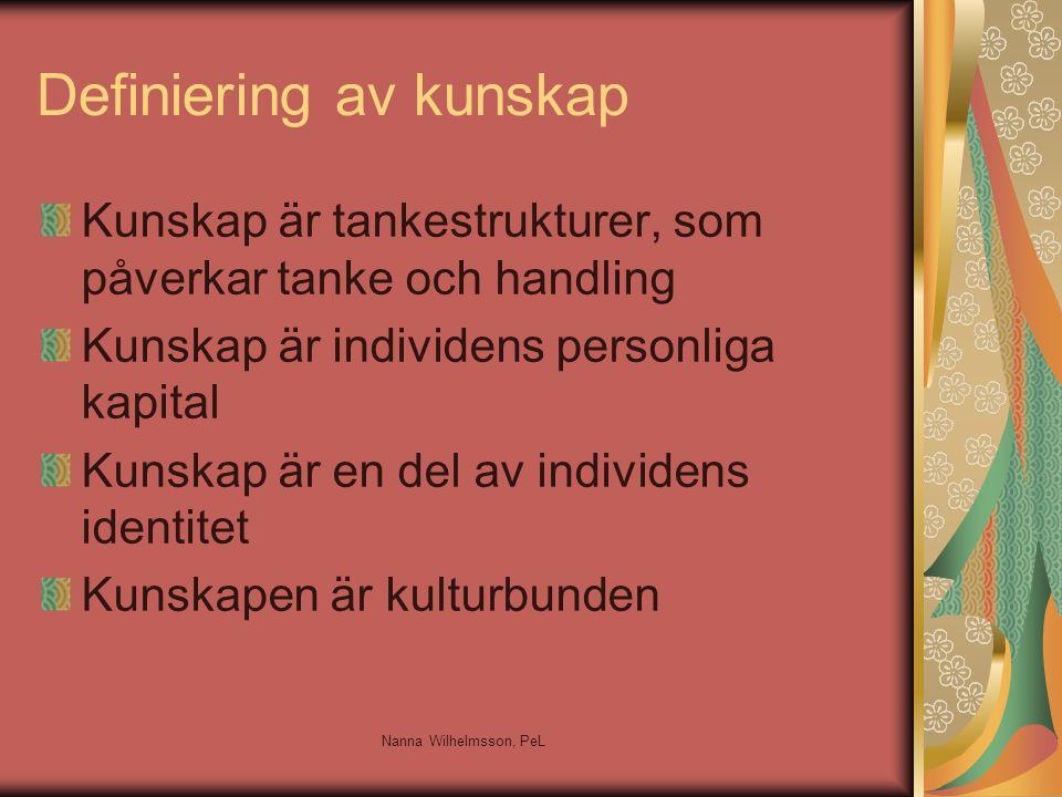 Definiering av kunskap Kunskap är tankestrukturer, som påverkar tanke och handling Kunskap är individens personliga kapital Kunskap är en del av individens identitet Kunskapen är kulturbunden Nanna Wilhelmsson, PeL