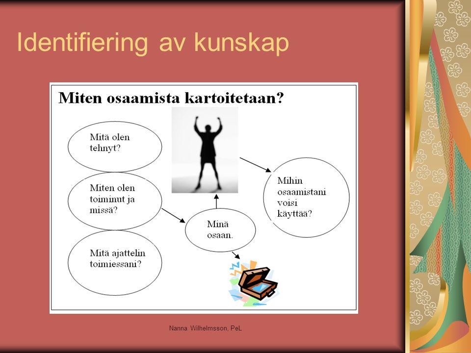 Identifiering av kunskap är ett samspel Invandrarens tankemodeller styr invandrarens förväntningar och tolkningar Invandraren försöker tolka finländarens förväntningar Invandraren kan ha traumatiska erfarenheter Invandraren är ovan att sjäv värdera sig själv Invandraren har respekt för auktoriteter Integreringsprocessen har skapat feltolkningar Nanna Wilhelmsson, PeL