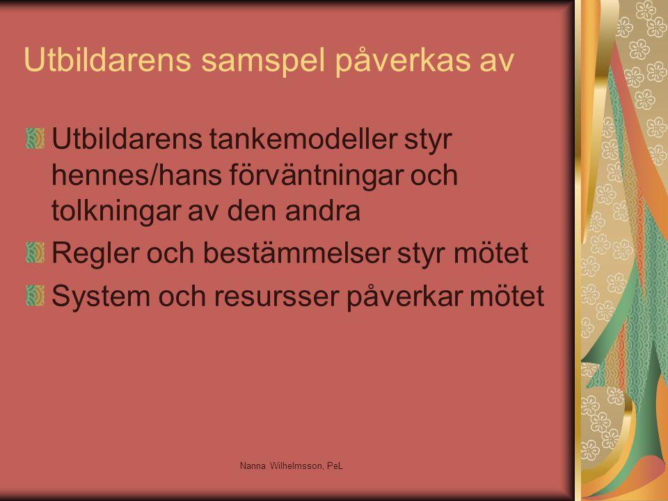 Utbildarens samspel påverkas av Utbildarens tankemodeller styr hennes/hans förväntningar och tolkningar av den andra Regler och bestämmelser styr mötet System och resursser påverkar mötet Nanna Wilhelmsson, PeL