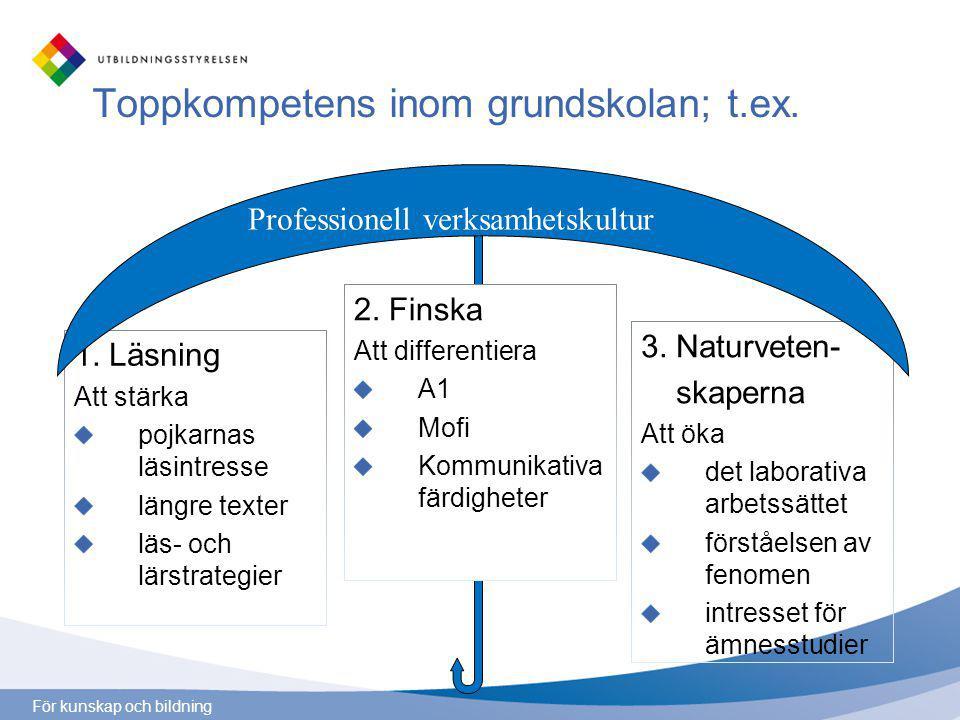 För kunskap och bildning Toppkompetens inom grundskolan; t.ex.