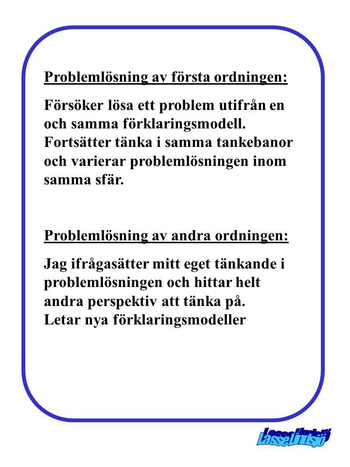 Problemlösning av första ordningen: Försöker lösa ett problem utifrån en och samma förklaringsmodell. Fortsätter tänka i samma tankebanor och varierar