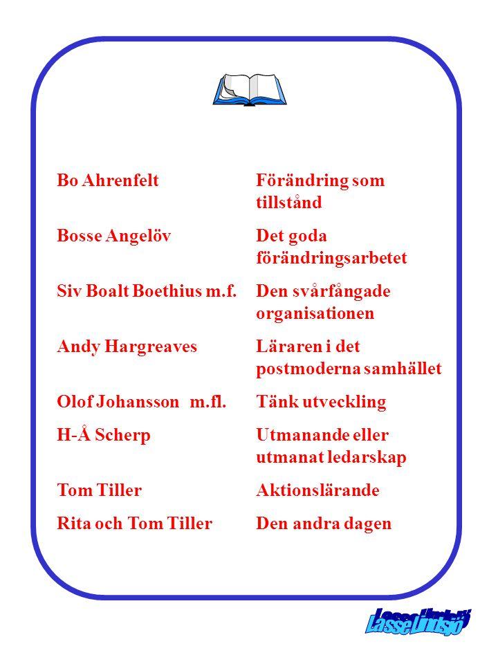 Bo AhrenfeltFörändring som tillstånd Bosse AngelövDet goda förändringsarbetet Siv Boalt Boethius m.f.Den svårfångade organisationen Andy HargreavesLär