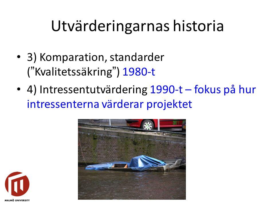 """Utvärderingarnas historia 3) Komparation, standarder (""""Kvalitetssäkring"""") 1980-t 4) Intressentutvärdering 1990-t – fokus på hur intressenterna värdera"""