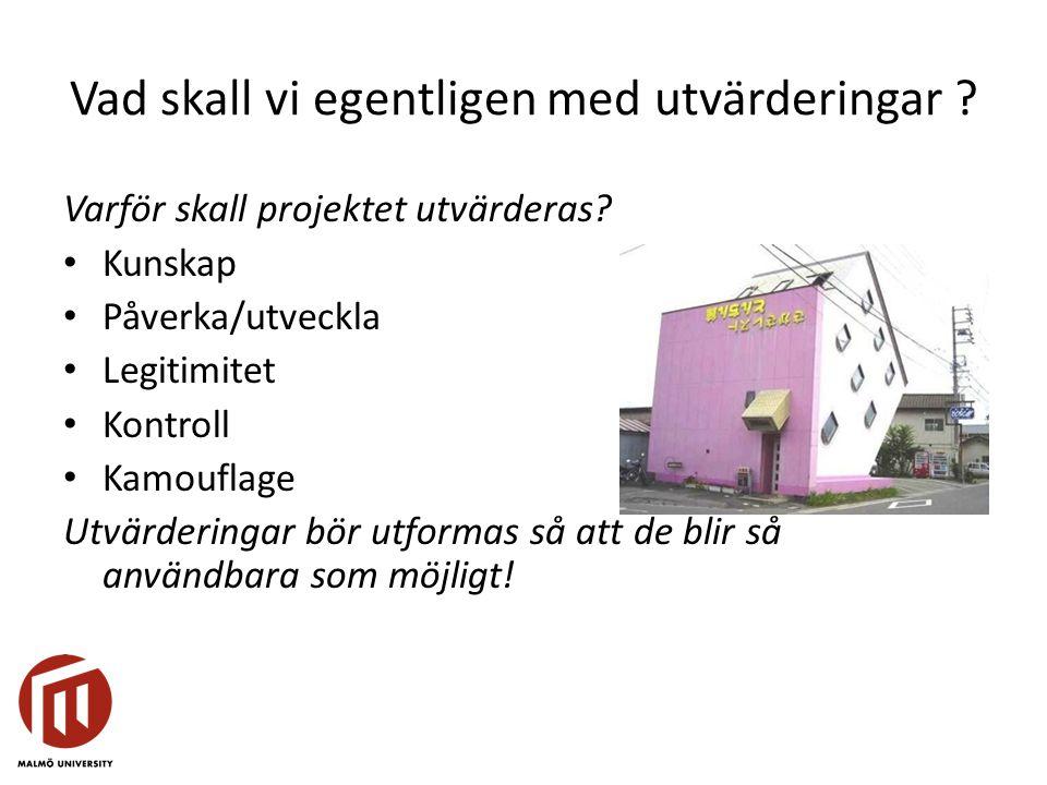 Vad skall vi egentligen med utvärderingar ? Varför skall projektet utvärderas? Kunskap Påverka/utveckla Legitimitet Kontroll Kamouflage Utvärderingar