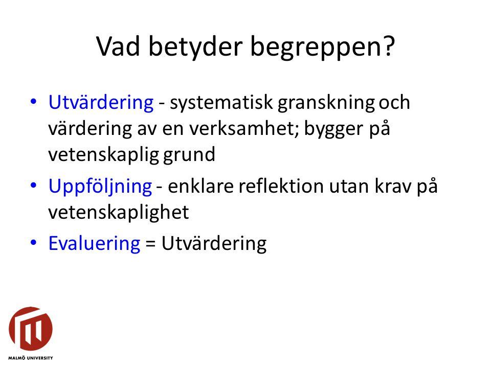 Vad betyder begreppen? Utvärdering - systematisk granskning och värdering av en verksamhet; bygger på vetenskaplig grund Uppföljning - enklare reflekt