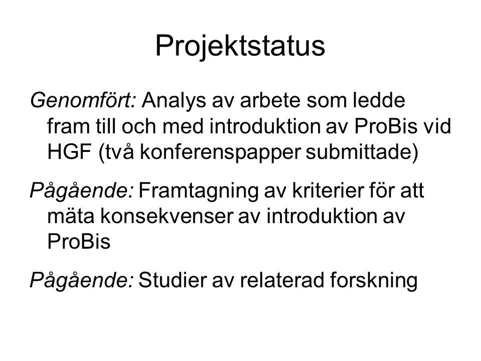 Projektstatus Genomfört: Analys av arbete som ledde fram till och med introduktion av ProBis vid HGF (två konferenspapper submittade) Pågående: Framtagning av kriterier för att mäta konsekvenser av introduktion av ProBis Pågående: Studier av relaterad forskning