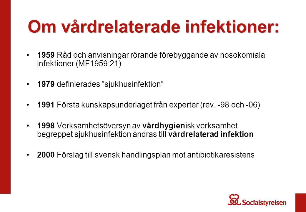 """Om vårdrelaterade infektioner: 1959 Råd och anvisningar rörande förebyggande av nosokomiala infektioner (MF1959:21) 1979 definierades """"sjukhusinfektio"""