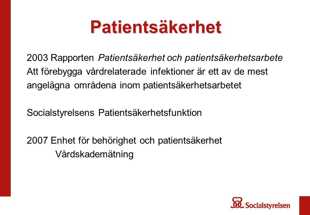 Patientsäkerhet 2003 Rapporten Patientsäkerhet och patientsäkerhetsarbete Att förebygga vårdrelaterade infektioner är ett av de mest angelägna områden