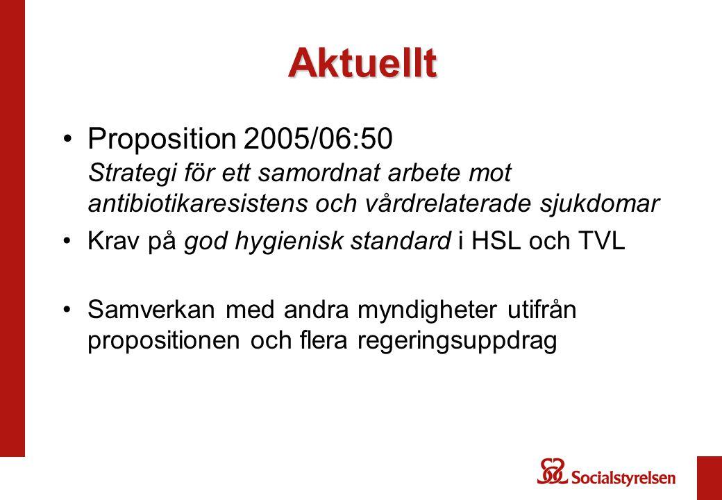 Aktuellt Proposition 2005/06:50 Strategi för ett samordnat arbete mot antibiotikaresistens och vårdrelaterade sjukdomar Krav på god hygienisk standard