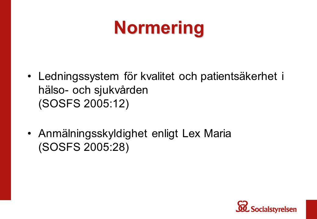 Normering Ledningssystem för kvalitet och patientsäkerhet i hälso- och sjukvården (SOSFS 2005:12) Anmälningsskyldighet enligt Lex Maria (SOSFS 2005:28