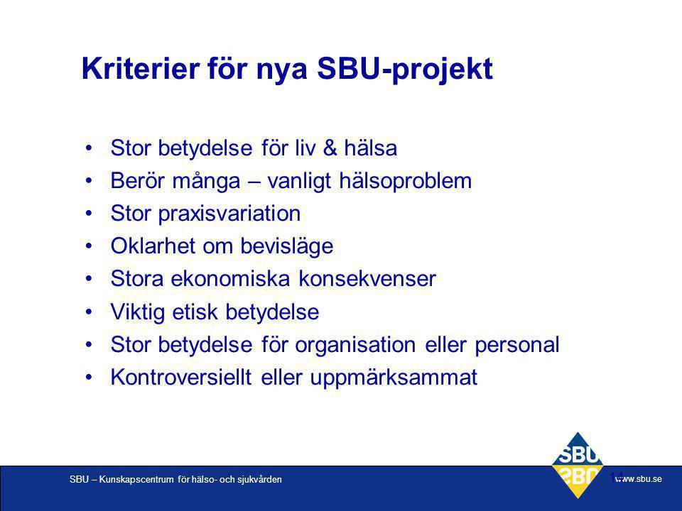 SBU – Kunskapscentrum för hälso- och sjukvården www.sbu.se 14 Stor betydelse för liv & hälsa Berör många – vanligt hälsoproblem Stor praxisvariation O