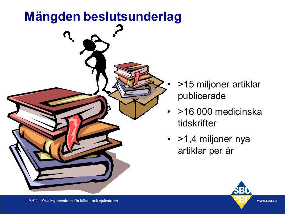 SBU – Kunskapscentrum för hälso- och sjukvården www.sbu.se 2014-12-1617 >15 miljoner artiklar publicerade >16 000 medicinska tidskrifter >1,4 miljoner