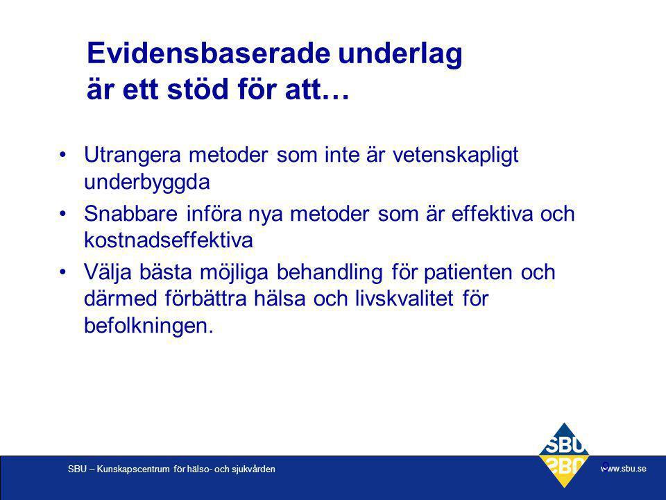 SBU – Kunskapscentrum för hälso- och sjukvården www.sbu.se 9 Evidensbaserade underlag är ett stöd för att… Utrangera metoder som inte är vetenskapligt