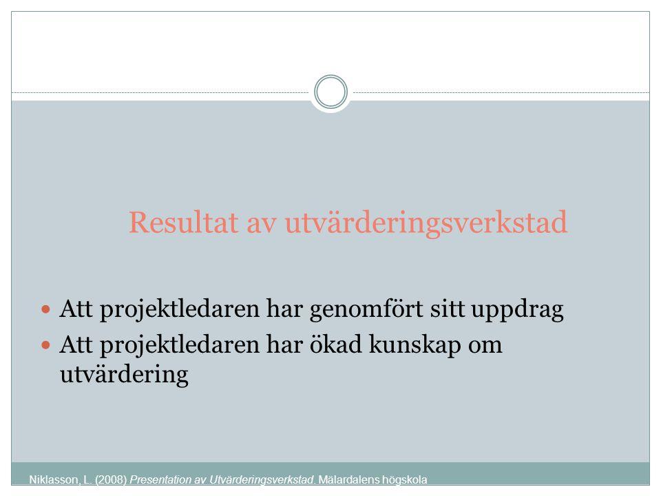 Resultat av utvärderingsverkstad Att projektledaren har genomfört sitt uppdrag Att projektledaren har ökad kunskap om utvärdering Niklasson, L.