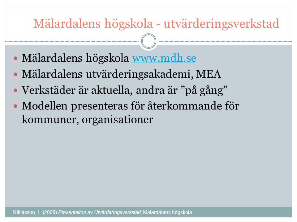 Mälardalens högskola - utvärderingsverkstad Mälardalens högskola www.mdh.sewww.mdh.se Mälardalens utvärderingsakademi, MEA Verkstäder är aktuella, andra är på gång Modellen presenteras för återkommande för kommuner, organisationer Niklasson, L.
