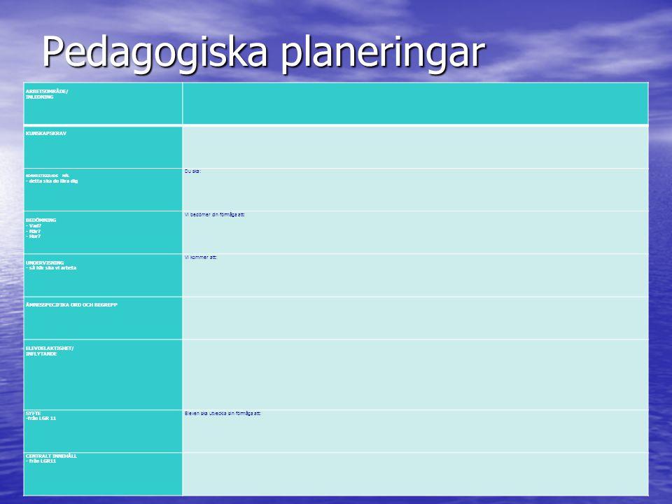 Pedagogiska planeringar ARBETSOMRÅDE/ INLEDNING KUNSKAPSKRAV KONKRETISERADE MÅL - detta ska du lära dig Du ska: BEDÖMNING - Vad.